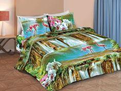 Комплект постельного белья Витэлия 1,5сп Водопад и фламинго 3D бязь