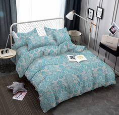 Комплект постельного белья Amore Mio Макосатин Chulpan, 7641, бирюзовый, 1,5-спальный, наволочки 70x70