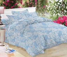Комплект постельного белья Amore Mio Макосатин Yana, 7661, голубой, 1,5-спальный, наволочки 70x70