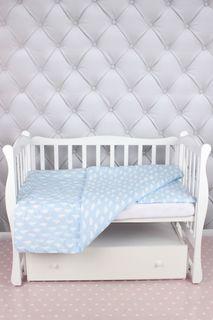 Комплект постельного белья детский AmaroBaby Baby Boom, облака, голубой, бязь, 3 предмета