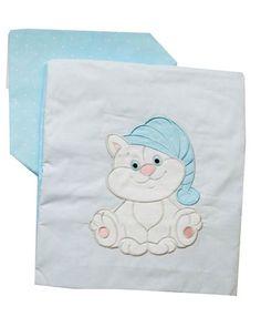 Комплект белья для новорожденных Комплект постельного белья детский с вышивкой Котик 6036-2, голубой ПАПИТТО