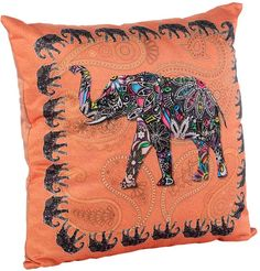 "Подушка декоративная GiftnHome ""Слон"", цвет: оранжевый, 35 см х 35 см"
