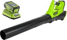 "Воздуходувка Greenworks ""G40ABK6"", с аккумулятором 40V G-MAX на 6 А/ч и зарядным устройством на 40V"