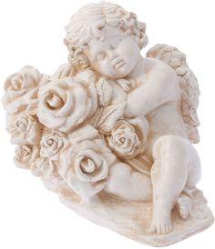 """Фигура садовая """"Ангел с розами"""", цвет: бежевый, 25 х 18 х 30 см Хорошие сувениры"""