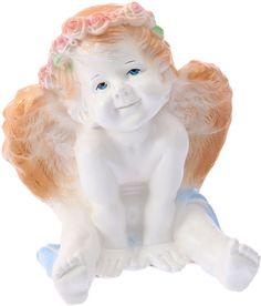 """Фигура садовая """"Ангел карапуз сидя"""", цвет: белый, золотистый, 20 х 20 х 25 см Хорошие сувениры"""