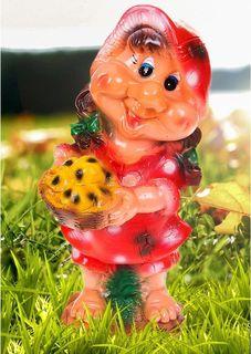 """Фигура садовая """"Гномиха с корзиной в малиновом платье"""", 16 х 20 х 40 см Хорошие сувениры"""