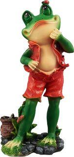 """Фигура садовая """"Лягушонок-рыбак"""", цвет: красный, зеленый, 20 х 15 х 33 см Хорошие сувениры"""
