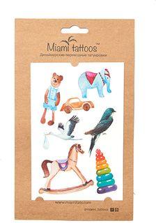 "Miami Tattoos Акварельные переводные тату Miami Tattoos ""Toys"" 1 лист 10 см х 15 см"