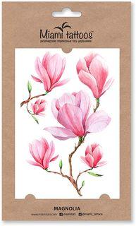 """Miami Tattoos Акварельные переводные тату """"Magnolia"""", 1 лист, 10 х 15 см"""
