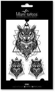 Miami Tattoos Переводные тату Owl, 1 лист, 10 см х 15 см