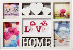 Фоторамка Три сердца - дом, на 5 фото, 4146823, белый, 41 х 28,5 х 2 см Хуанганг Джиаши Текстайл Импортс Энд Экспортс Ко., Лтд