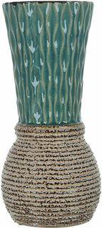 "Ваза декоративная ENS Group ""Кэролайн"", цвет: зеленый, высота 25,5 см"
