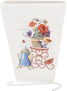 """Ваза декоративная Nouvelle De France """"Сад"""", подвесная, цвет: белый, высота 14 см"""