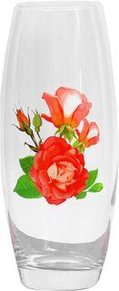 """Ваза Decor Style Glass """"Роза красная"""", 3326687, прозрачный, красный, 10,5 х 10,5 х 26,5 см"""