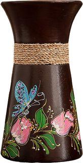 "Ваза ""Бабочка на цветах"", 3256929, коричневый, 10 х 10 х 19 см Songpitak Export Company Ltd"
