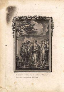 Гравюра Жан-Жак Лево Метаморфозы. Бог Меркурий (Гермес) влюбился в Герсу, дочь первого царя Аттики Кекропа. Офорт, резцовая гравюра. Франция, Париж, 1767 год