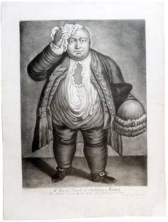 Гравюра Толстяк. Меццо-тинто. Англия середина XVIII века