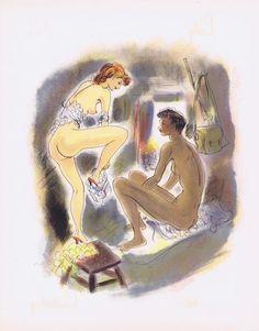 Гравюра Рауль Серрес (Шем) Леди Чаттерлей. Раздевание. Хромолитография. Франция, 1956 год