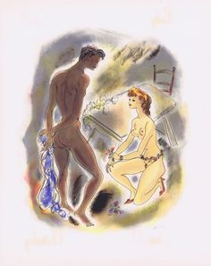 Гравюра Рауль Серрес (Шем) Леди Чаттерлей. Цветочная гирлянда для любимого. Хромолитография. Франция, 1956 год