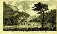 Гравюра Роберт Годби Англия. Утёс Мэтлок Хай-Тор в графстве Дербишир. Резцовая гравюра. Англия, Лондон, 1776 год
