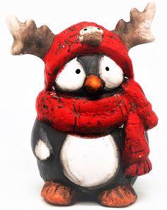 """Сувенир Яркий Праздник """"Пингвин рогатик в красном шарфе"""", 10,5 х 8 х 12,8 см"""