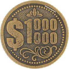 Денежный сувенир Miland Монета Миллион долларов, Т-3704, золотой