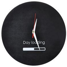 """Часы настенные """"Day Loading"""", стеклянные, цвет: черный, белый. 95546 Эврика"""