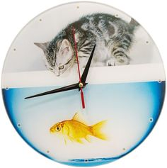 """Часы настенные Эврика """"Котенок с рыбкой"""", стеклянные, 30 х 30 х 4 см"""