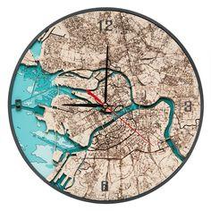 "Настенные часы Woodenmap ""Санк-Петербург"" (30 см)"