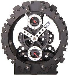 """Часы настольные Baron """"Машина времени"""", цвет: черный, диаметр 20 см"""