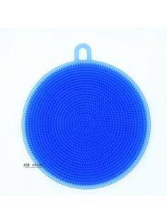 Губка силиконовая для мытья посуды, овощей, многофукнциональная щетка силиконовая для кухни (синяя) Blonder Home