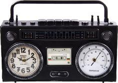 Настольные часы-термометр Русские подарки Ретро магнитофон, 138631, черный, 36 х 21 см