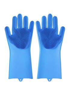 Многофункциональные перчатки силиконовые термостойкие для мытья посуды, перчатки-щетка для кухни Blonder Home