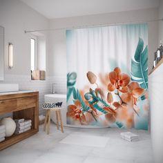 Штора для ванной JoyArty шв_17137, белый, бирюзовый, светло-зеленый