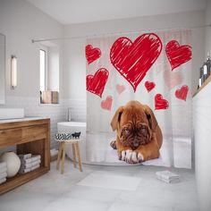 Штора для ванной JoyArty шв_91957, белый, красный