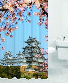 Штора для ванной BATH PLUS KYOTO, голубой, зеленый