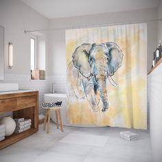 """Штора (занавеска) для ванной """"Загадочный слон"""" из ткани, 180х200 см с крючками Joy Arty"""
