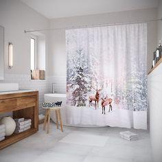 """Штора (занавеска) для ванной """"Олени в снегу"""" из ткани, 180х200 см с крючками Joy Arty"""