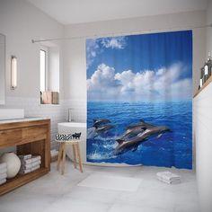 """Штора (занавеска) для ванной """"Прыгающие дельфины"""" из ткани, 180х200 см с крючками Joy Arty"""