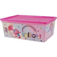 """Контейнер для хранения вещей Полимербыт КОРОБКА """"TROLLS"""" 10л розовый, 4371635/розовый, прозрачный"""