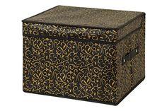 Кофр для хранения вещей EL Casa Золотой узор, черный, золотой