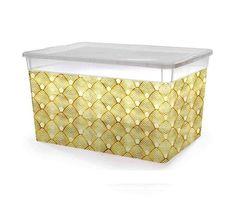 Контейнер для хранения вещей Полимербыт Коробка для хранения с рисунком, прозрачная, с крышкой, 10л. 37х26х14см, прозрачный
