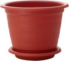 """Горшок для цветов InGreen """"Натура"""", с поддоном, цвет: терракотовый, диаметр 21 см"""