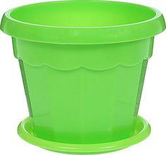 """Горшок для цветов Доляна """"Эрика"""", с поддоном, цвет: зеленый, 0,7 л"""
