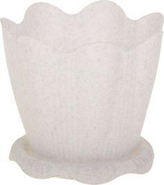 """Горшок для цветов Martika """"Эдельвейс"""", с поддоном, цвет: мрамор, 0,65 л"""