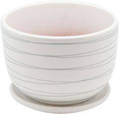 """Горшок цветочный """"Engard"""", с поддоном, цвет: белый, серебристый, 1,05 л"""