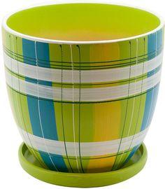"""Горшок цветочный """"Engard"""", с поддоном, цвет: зеленый, 4,7 л"""