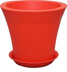 """Горшок для цветов Plast Avenue """"Твист"""", с поддоном, цвет: оранжевый, диаметр 25 см"""