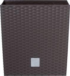 Кашпо Prosperplast Ротанг, с контейнером, DRTS225L 440, коричневый, 22,3 х 22,3 х 22,8 см