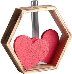 Рамка-ваза для цветов 2 сердца, 4123074, светло-коричневый, 22 х 4 х 22 см